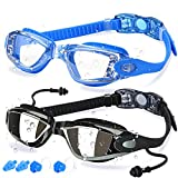 COOLOO Swim Goggles, 2 Pack Swimming Goggles Anti-Fog for Men Adult Women Kids, Black & Blue (Sports)