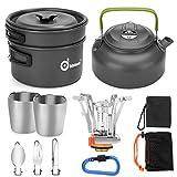 Odoland Multi-PCS Kit de Casseroles Camping Poêlé en Aluminium Durable et Compact Camping Ustensiles...