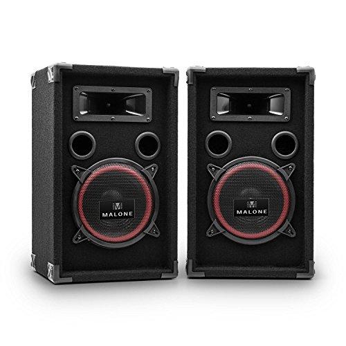 """Malone PA-220-P, PA Lautsprecher Set, 2-Wege Lautsprecher, Passivboxen, 2 x 500 Watt max. Leistung, 8\"""" Subwoofer, Bassreflexgehäuse, Piezo-Hochtöner, transporttauglich, schwarz"""