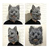 Halloween Masquerade Party Dress Up,Rabbit Cosplay Mask (Grey Wolf)
