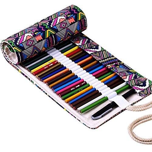 Fablcrew - Astuccio porta-matite arrotolabile in tela, per artisti, scuola e ufficio, 36 Holes, 50 x 21 cm