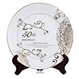 CQNET 50th Happy Anniversary Wedding Plate Porcelain Gold Plate with Stand for Wedding Anniversary Valentine's Day Couple Gift for Him or Her (50th)