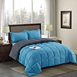 HIG 3-Piece Box Stitching Turquoise Comforter Set Queen Size with 4 Corner Tab - 100% Down Alternative Filling Duvet Insert - Durable & Easy Care - Year-Round Lofty Reversible Comforter, Fluffy, Soft