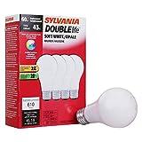 SYLVANIA Halogen Light Bulb, A19, 60W Equivalent, Efficient 43W, 610 Lumens, Medium Base, 2750K, Soft White - 4 Pack (75541)