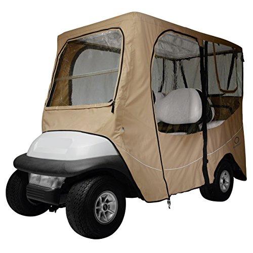 Classic Accessories Fairway Golf Cart Deluxe Enclosure, Khaki, Short Roof