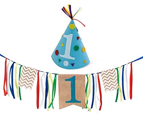 Boy First Birthday Decorations - 1st Birthday - Burlap Highchair Banner and Felt Hat Pack