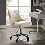 Modway Regent Tufted Button Upholstered Fabric Swivel Office Chair with Nailhead Trim in Beige