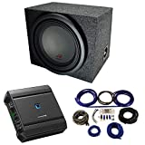 Universal Car Stereo Rearfire Sealed Single 12' Alpine Type R R-W12D4 Sub Box Enclosure with S-A60M Amplifier & 4GA Amp Kit