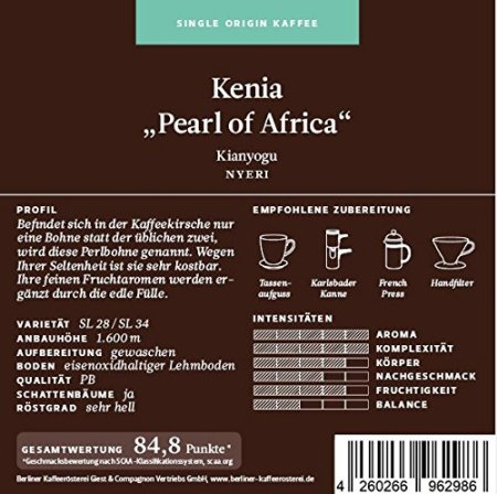 """Berliner Kaffeerösterei Kenia """"Pearl of Africa"""""""