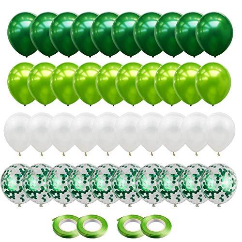 Gxhong Globos de confeti Globos de Látex Verde Blanco, 60pc