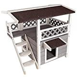 Petsfit Outdoor Cat House for Feral Cats Weatherproof, 2 Story Wooden Kitten Condo with Escape Door