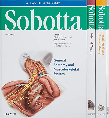 Sobotta Atlas of Anatomy, Package, 16th ed., English/Latin: Musculoskeletal System; Internal Organs; Head, Neck and Neuroanatomy; Muscles Tables, 16e