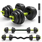 4-in-1 Adjustable Dumbbell Barbell Set of 66 lbs for Adult Gym Home Fitness Weight Set Workout Equipment with AB Wheel bar