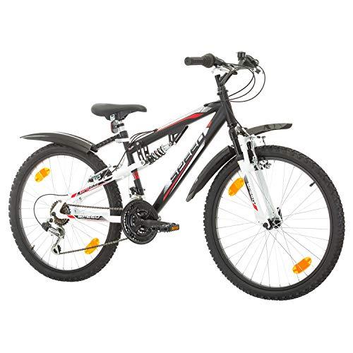 Multibrand, PROBIKE Speed 24, 24 Pollici, 330mm, FSP Mountain Bike, 18 velocità, Unisex, Nero (Nero, 24 Pollici)