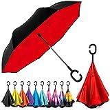 EEZ-Y Inverted Umbrella with C-shaped Handle for Men & Women, Windproof and Water Resistant Umbrella...
