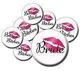 8 Bride's Bitches Buttons - Bachelorette Buttons - Bridal Party Buttons - Brides Bitches