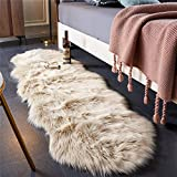 EasyJoy Ultra Soft Fluffy Rugs Faux Fur Rug Chair Cover Seat Pad Fuzzy Area Rug for Bedroom Floor Sofa Living Room (2 x 6 ft Sheepskin, Beige)