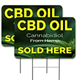 Vista Products 2 Pack CBD Oil Sold HERE Yard Sign 16' x 24' - Double-Sided Print, with Metal Stakes 841098190156