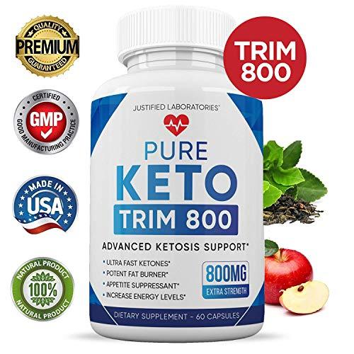 Pure Keto Trim 800 Advanced BHB Ketogenic Supplement Exogenous Ketones Ketosis for Men Women 60 Capsules 2 Bottles 2