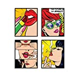"Pop Art Prints Set of 4 By Carefree Bee | Banksy Wall Art & Pop Art Wall Decor & Painting, Weed Decor & Poster for College Dorm | Makeup Room Decor | Dorm Room Poster | Unframed | 8"" x 10"" 