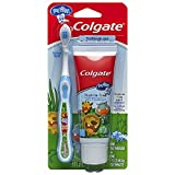 Colgate My First Baby and Toddler Training Toothbrush and Fluoride Free Toothpaste Set for Ages 0-2 Years