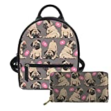Advocator Pug Mini Backpack Purse for Teen Girls Fashion Backpack Wallet Set