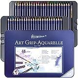 48 Crayons Aquarellables, Crayon de Couleurs Aquarelle avec Système Anti-casse...