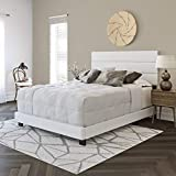 Boyd Sleep Montana Tri-Panel Upholstered Platform Bed Frame Mattress Foundation with Faux Leather Headboard and 4-Slat Supports, Requires Box Spring: White, Queen Size