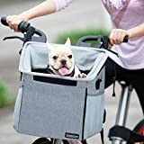 Pet Carrier Bicycle Basket Bag Pet Carrier/Booster Backpack for Dogs and Cats with Big Side Pockets,Comfy & Padded Shoulder Strap,Travel with Your Pet Safety,Gray