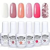 Perfect Summer Soak Off Nail Gel Polish - UV LED Gel Polish Varnish Autumn Winter Series Collection Pack of 6 Coral White Pink Colors Trend Gift Set 8ML 005