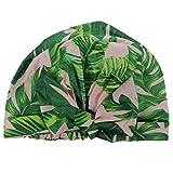 FRCOLOR Bonnet de Douche Réglable Tropical Palm Imprimé Élastique Noeud de Front...