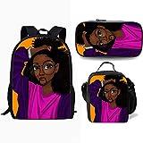 Mochila Niños, Bolsa De Viaje Bolsa De La Escuela Negro African American Girl Estudiante Que Bookbag Casual para Adolescentes Niños Niñas