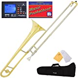 Mendini by Cecilio Bb Tenor Slide Trombone, Gold with Cupronickel Slide, 1 Year Warranty, Tuner, Pocketbook and More, MTB-LN