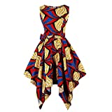 Wellwits Women\s Dashiki African Print High Low Asymmetric Vintage Dress L