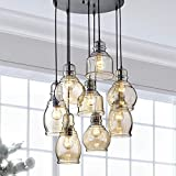 Vintage Pendant Chandelier for Kitchen Island, 8-Light Ceiling Chandelier with Amber Glass Lampshade, Round Antique Finish Ceiling Lighting Fixtures for Dining Room, Cafe, Bar