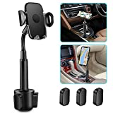 Car Cup Holder Phone Mount, Adjustable Gooseneck Portable Cup Holder Car Mount for iPhone XR Xs XS Max X 8 7 7 Plus 6s/ Samsung Galaxy S10 S9 S8 S7/ Note 9 8, Huawei, GPS etc(Black)