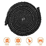 POYINRO Expandable Garden Hose, 75ft Strongest Expanding Garden Hose with Triple Layer Latex Core & Latest Improved Extra Strength Fabric Protection for All Your Watering Needs Improved Design(Black)
