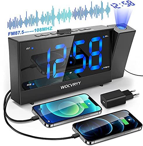 Radio Reveil Projection Plafond, Réveil projecteur Plafond avec Radio FM, Double Alarmes, Formats 12 / 24H, Gradateur D'écran de Réglage en Continu et Deux Ports de USB, Joli Design