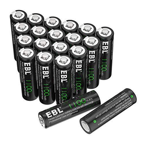 EBL AA Rechargeable Batteries for Solar Lights Replacement, 1100mAh High Capacity Ni-CD Battery (Pack of 20)