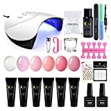 Saint-Acior 6Pcs Poly Nail Gel Kit with 36W LED Lamp Poly gel Nail Extension kit Top and Base Coat Poly Nail Gel Slip Solution Nail Extension False Nail Tips Art Tools