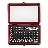 Sunex 9732 44Pc 1/4' Dr Mini Dual Flex Head RATCHET W Socket & Bit Set