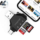 SD Card Reader for iPhone/iPad/Android/Computer,Digital Camera 4 in 1 SD Reader Adapter,Memory Card Adapter with Lightning/USB C/USB A/Micro USB,Trail cam Card Viewer by LEEGLOAD(Black)