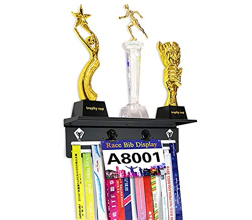 Medal Hangers Holder Trophy Shelf Display for Running Trophies.Perfect All-in-1 Metal Wall Frame,Display Race Bibs and Award Photos.Gifts medal Rack for runners Marathon Cycling Rugby Dance Taekwondo