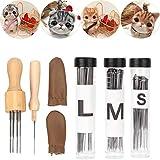 Pssopp Kit de Couture pour feutrage à l'aiguille Outil de départ pour Le feutrage de Laine Protection des Doigts Kit de Fabrication de feutrage Aiguilles à feutrer pour la Fabrication de Bricolage