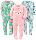Simple Joys by Carter's Baby Girls' 3-Pack Flame Resistant Fleece Footed Pajamas, Polar Bear/Pigs/Fox, 24 Months