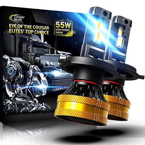 Cougar Motor Ultimate H4 LED Headlight Bulb, High-focus 9003 20000LM Extremely Bright 6500K Cool White Conversion Kit - Adjustable Beam