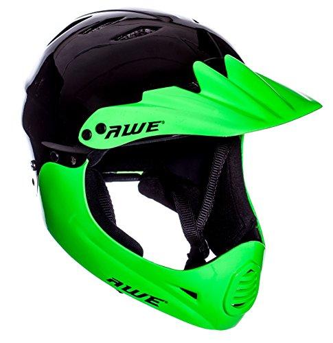 AWE® Junior/Erwachsener BMX/Full Face Helm schwarz,Grun 54-58 cm Gratis 5 Jahr Crash Ersatz *