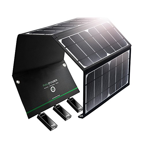 RAVPower Solar Charger 24W Solar Panel with 3 USB Ports Waterproof Foldable Camping Travel Charger Compatible iPhone Xs XS Max XR X 8 7 Plus, iPad, Galaxy S9 S8 Note 8 and More, Black