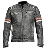 Café Racer Retro Vintage Motorcycle Black Distressed Leather Jacket