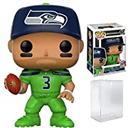 Bundled Plastic BOX PROTECTOR with the collector in mind (Removable Film) From the NFL's, Seattle Seahawks Russell Wilson (Color Rush) #57, as a stylized pop vinyl from Funko! Stylized collectable stands 3 ¾ inches tall, perfect for any NFL fan! Coll...